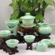 台湾活瓷龙头雕浅綠色陶瓷茶具批发图片
