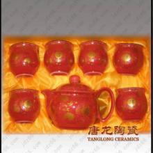 供应中国红陶瓷茶具 礼品陶瓷茶具 景德镇陶瓷茶具 陶瓷工艺品定做图片