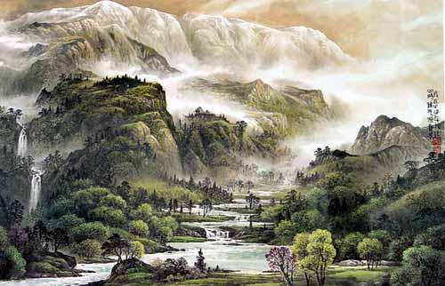 昆明手绘山水画图片