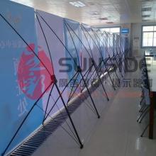 深圳最大X方盘展架制作,供应黑色方管加大防风1.2米韩式X展架,图片