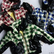 时尚童外套供应中小童男童格子加棉加绒外套 日韩风格