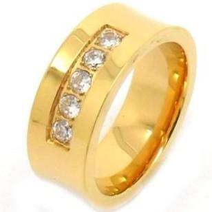 钛钢18K黄金戒指指环图片