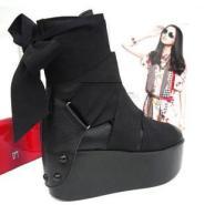新款韩版女靴子春秋女鞋厚底坡跟鞋图片
