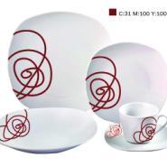 白瓷方形20头烤花餐具套装图片