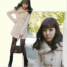 2011秋冬女装新款韩版甜美中长款呢大衣双排扣毛呢外套