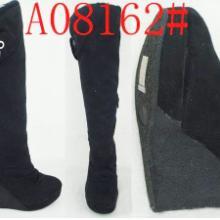 供应库存女靴批发绒面高筒坡跟女棉靴批