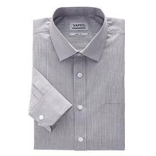 Easycare经典修身长袖衬衫 咖啡宽条纹
