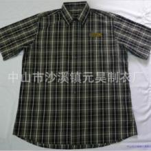 中山外贸厂家供应短袖衬衫 涤棉色织格子衬衫OEM定制