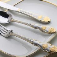 高档不锈钢12件套镀金喷沙刀叉勺餐图片