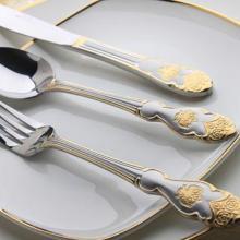 供应高档不锈钢12件套镀金喷沙刀叉勺餐具批发
