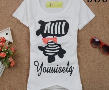 2014韩版春装新款时尚百搭潮打底衫显瘦女装短袖纯棉t恤女图片