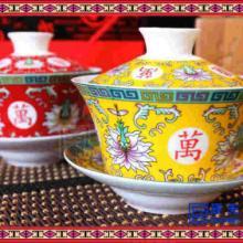 青花陶瓷盖碗纯白盖碗印字 手绘三才陶瓷盖碗茶具