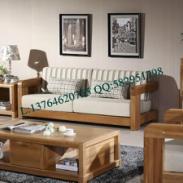 高档纯实木榆木家具客厅沙发三人位图片