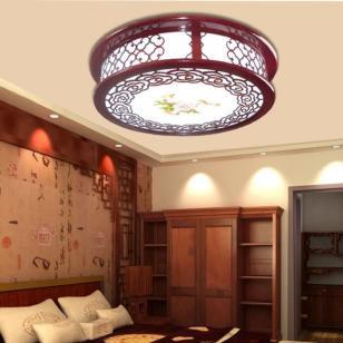 现代中式客厅卧室书房LED木艺灯图片