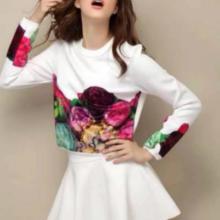供应时尚黑色款白色款女裙套装欧美风,太空棉贴丝绒面料批发