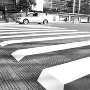 五星行人行道斑马线荧光涂料图片
