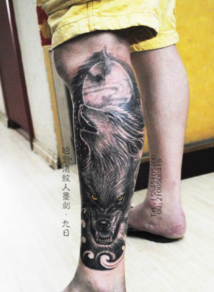 哈尔滨纹身小腿纹身狼纹身图片图片