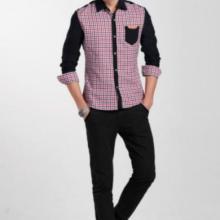 供应男式休闲衬衫男士格子拼色衬衫图片