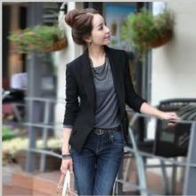 【深依度】新款修身韩版OL短款长袖纯色女式小西服小西装短外套潮批发