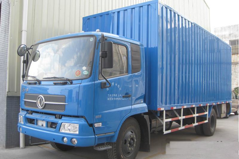 现货供应东风天锦7.6米报价,4x2康明斯180马力厢式货车报价图片