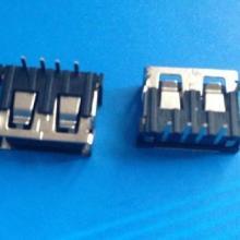 供应USB母座90度连接器短体10.0D款前两脚卷口6.5