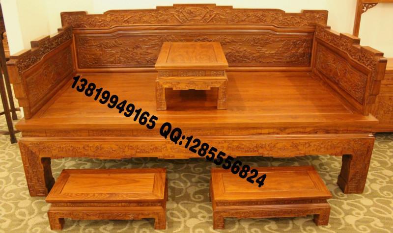 供应非洲花梨木罗汉床,山水罗汉床,中式古典红木罗汉床