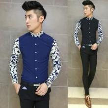 供应男装韩版纯色休闲长袖衬衫修身潮流