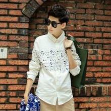 供应男士修身印花长袖衬衫韩版男士衬衫