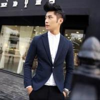 男士个性韩版休闲修身两色长袖小西