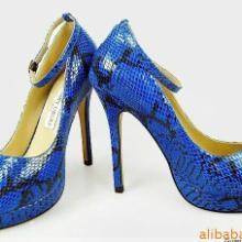供应蛇纹鱼嘴单鞋真皮女鞋 高跟鞋定做