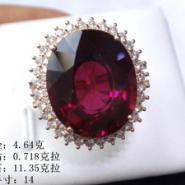 天然红石榴石镶嵌王妃款石榴石戒指图片
