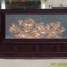 供应红木落地柜屏-3.2米富贵图屏风批发