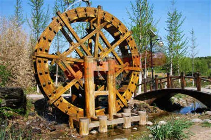 供应定做园林景观仿古水车木质结构产品