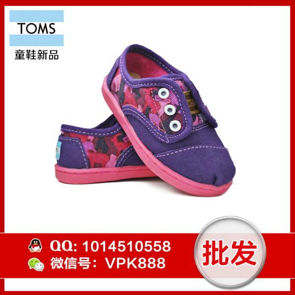 供应toms新款女童鞋 正品迷彩系带帆布鞋童鞋