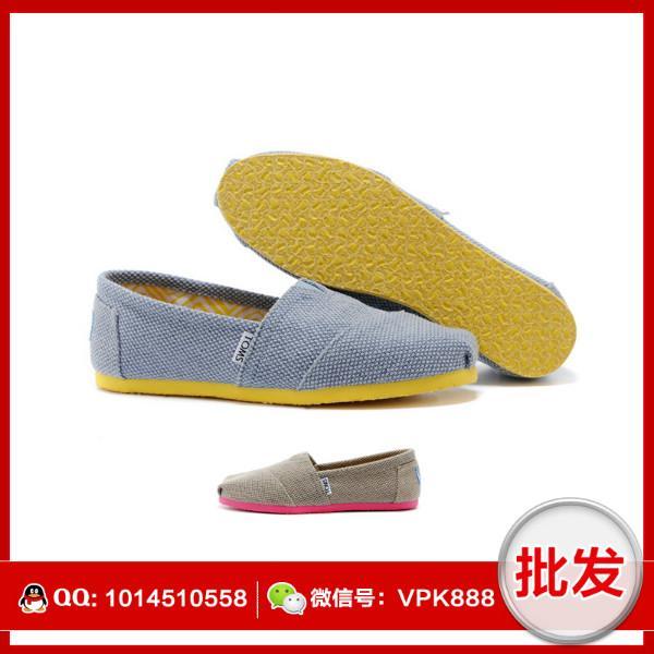 供应toms女鞋 正品彩色底帆布鞋 全棉面料