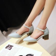 供应哪里有韩版女凉鞋批发春夏女鞋韩版复古中跟粗跟女凉鞋甜美包头女鞋批发