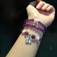 供应萬福源水晶饰品薰衣草紫水晶手链
