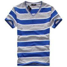 供应用于的厂家供应男装T恤纯棉条纹短袖V领T恤批发批发