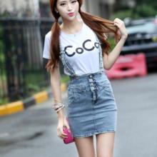 供应哪里有最新款背带牛仔裤批发零售夏季韩版时尚浅色包臀显瘦高腰半身裙