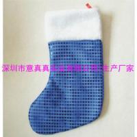 供应蓝色毛绒圣诞袜 圣诞活动礼品装饰袋子 圣诞袜来图来样订做logo 图片 效果图
