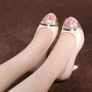 优雅OL时尚舒适粗高跟防水台凉鞋图片