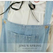 供应2015春装女装纯色水洗牛仔背带短裤