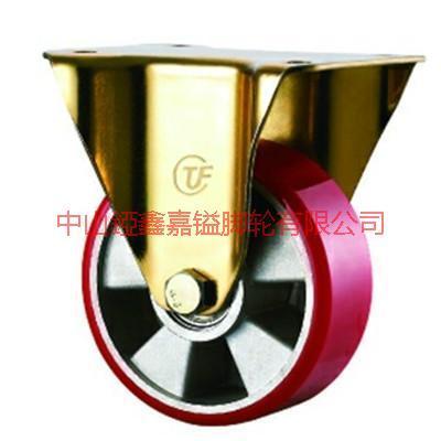 供应4-8寸平面铝芯聚氨脂PU定向脚轮-广东方边万向轮-方边TPR轮-刹车轮