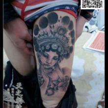 供应花旦纹身手臂纹身荷花纹身鱼纹身图片